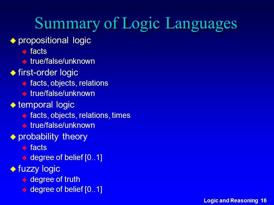 Logic and Reasoning 16 Summary of Logic Languages u propositional logic u facts u true/false/unknown u first-order logic u facts, objects, relations u
