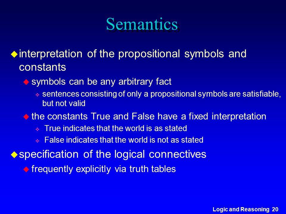 Logic and Reasoning 20 Semantics u interpretation of the propositional symbols and constants u symbols can be any arbitrary fact v sentences consistin