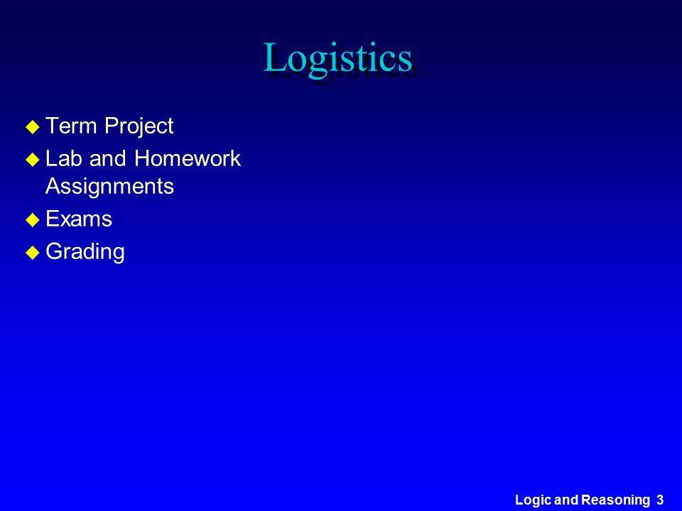 Logic and Reasoning 3 Logistics u Term Project u Lab and Homework Assignments u Exams u Grading