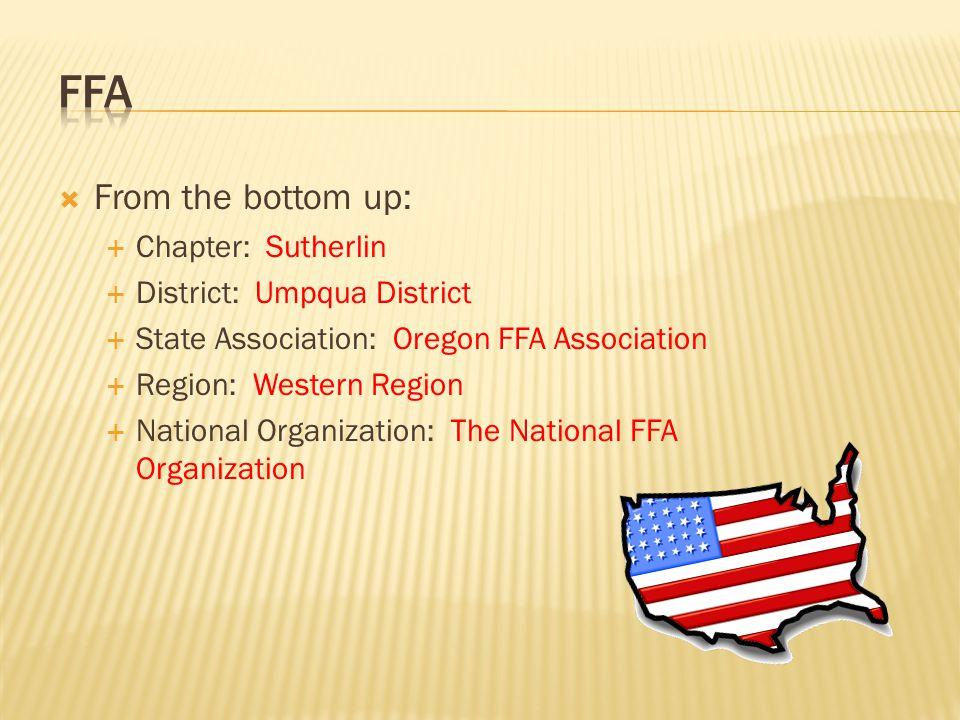  From the bottom up:  Chapter: Sutherlin  District: Umpqua District  State Association: Oregon FFA Association  Region: Western Region  National Organization: The National FFA Organization