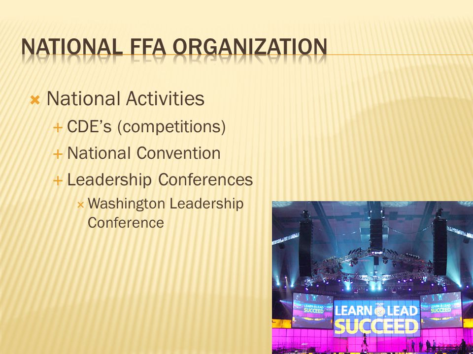  National Activities  CDE's (competitions)  National Convention  Leadership Conferences  Washington Leadership Conference