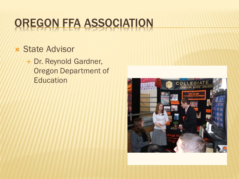  State Advisor  Dr. Reynold Gardner, Oregon Department of Education