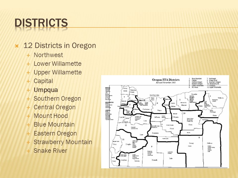  12 Districts in Oregon  Northwest  Lower Willamette  Upper Willamette  Capital  Umpqua  Southern Oregon  Central Oregon  Mount Hood  Blue Mountain  Eastern Oregon  Strawberry Mountain  Snake River