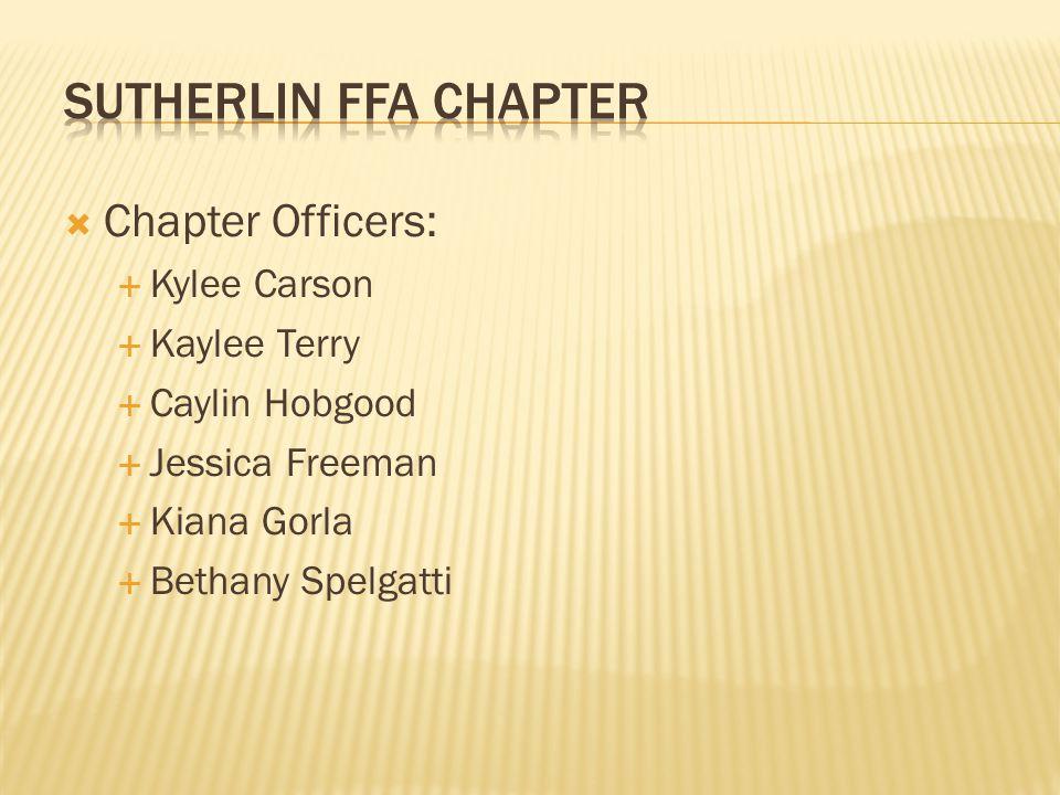  Chapter Officers:  Kylee Carson  Kaylee Terry  Caylin Hobgood  Jessica Freeman  Kiana Gorla  Bethany Spelgatti