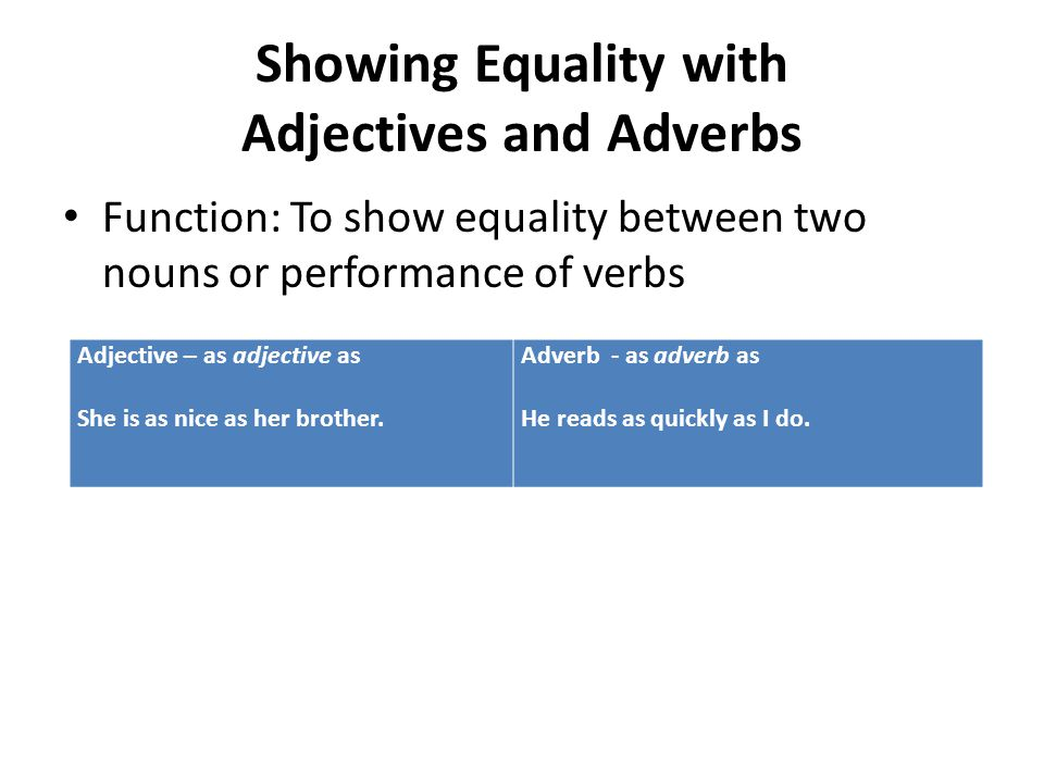 Showing Equality with Adjectives and Adverbs Function: To show equality between two nouns or performance of verbs Adjective – as adjective as She is a