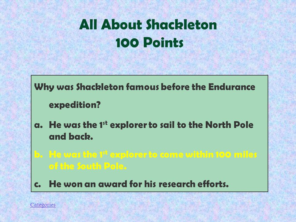 Categories Why was Shackleton famous before the Endurance expedition.