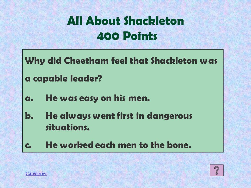Categories All About Shackleton 300 Points How did Shackleton's ship earn the name, Endurance.