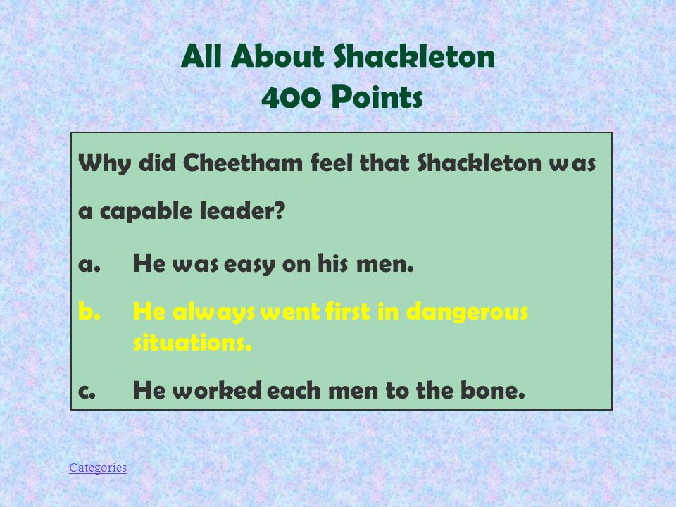 Categories Why did Cheetham feel that Shackleton was a capable leader.