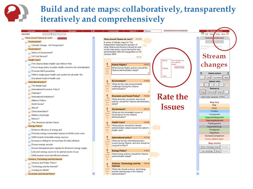 Build and rate maps: collaboratively, transparently iteratively and comprehensively Stream changes
