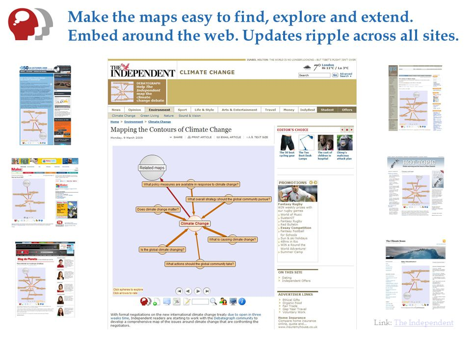 Make the maps easy to find, explore and extend. Embed around the web.