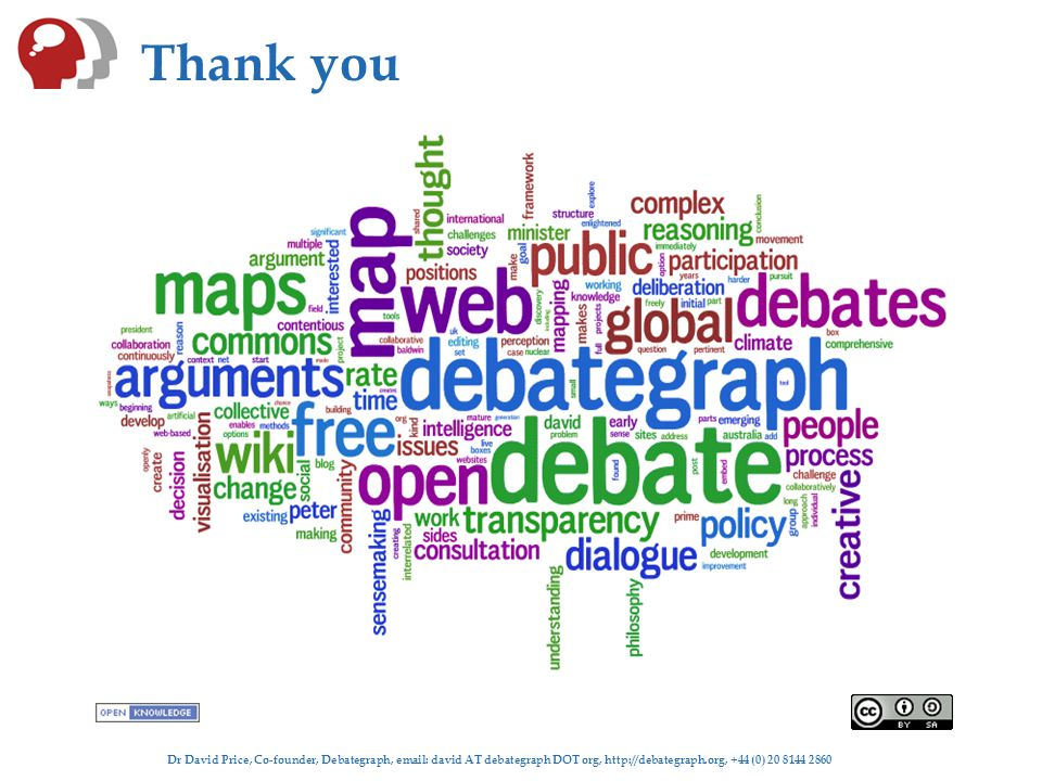 Dr David Price, Co-founder, Debategraph, email: david AT debategraph DOT org, http://debategraph.org, +44 (0) 20 8144 2860 Thank you