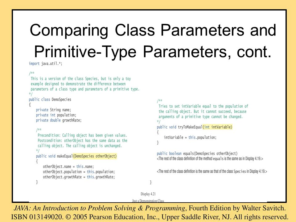 Comparing Class Parameters and Primitive-Type Parameters, cont.