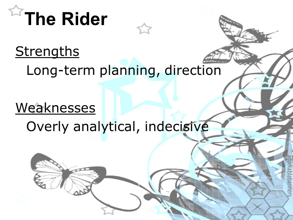 The Rider Strengths Long-term planning, direction Weaknesses Overly analytical, indecisive