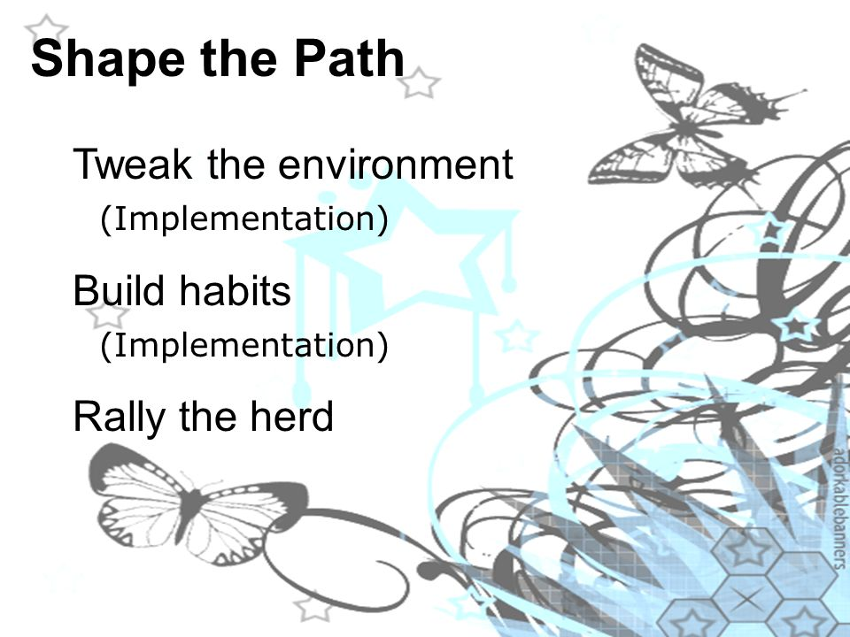 Shape the Path Tweak the environment (Implementation) Build habits (Implementation) Rally the herd