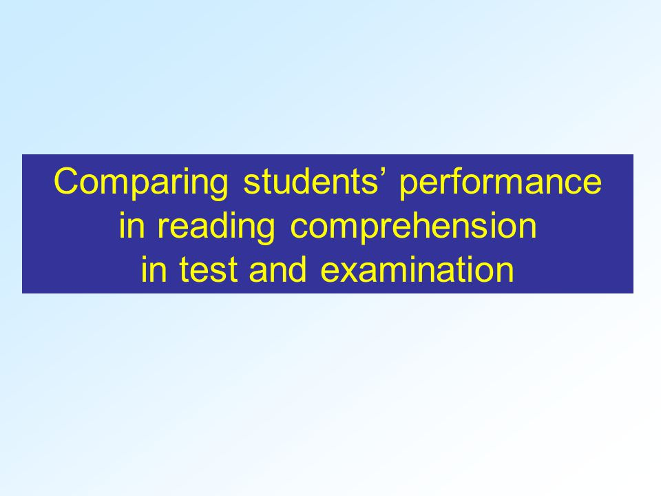 Comparing students' performance in reading comprehension in test and examination