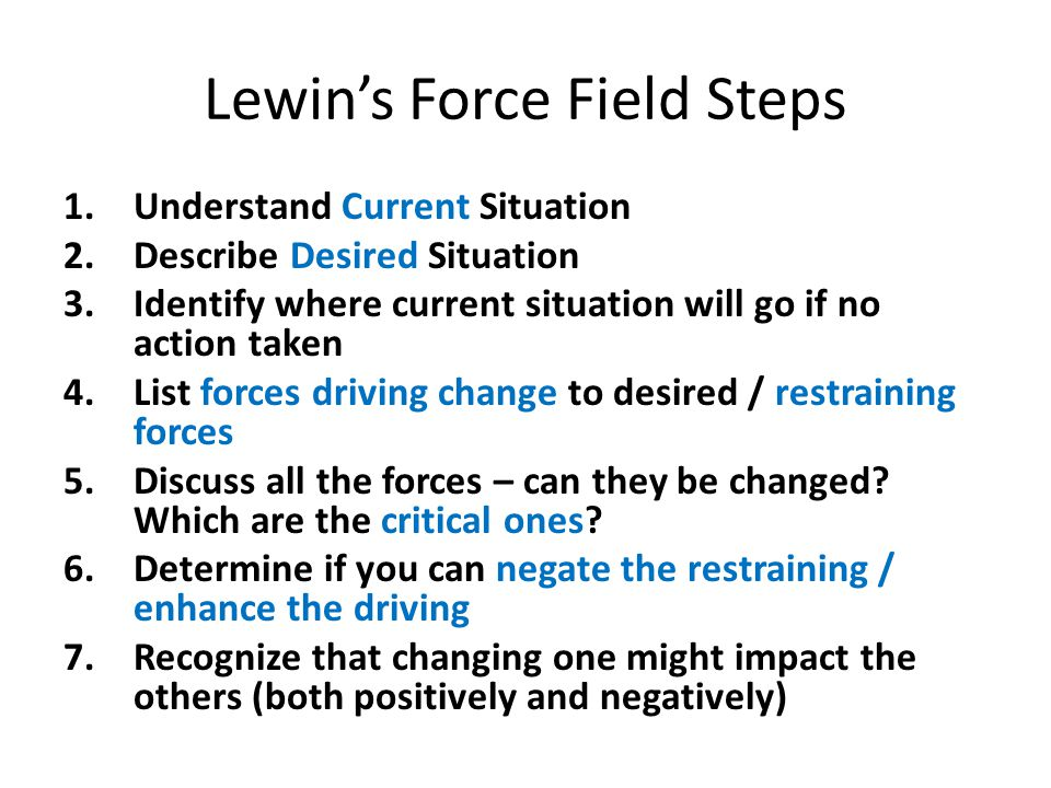 Lewin's Force Field Steps 1.Understand Current Situation 2.Describe Desired Situation 3.Identify where current situation will go if no action taken 4.List forces driving change to desired / restraining forces 5.Discuss all the forces – can they be changed.