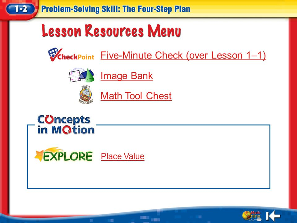 Resources Five-Minute Check (over Lesson 1–1) Image Bank Math Tool Chest Place Value