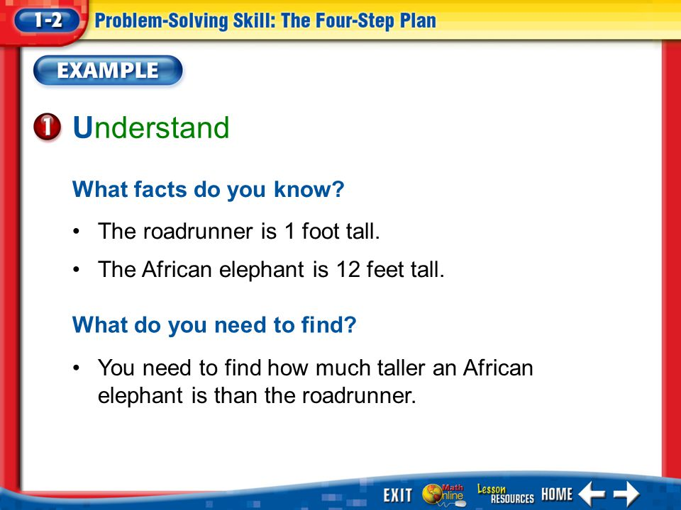 Example 1 Understand What facts do you know. The roadrunner is 1 foot tall.