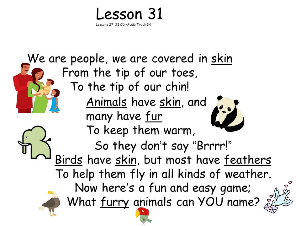 Lesson 31 Lessons 27-32 CD~Audio Track 34 We are people, we are covered in skin From the tip of our toes, To the tip of our chin.
