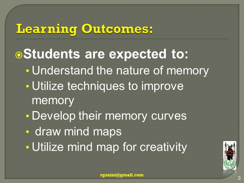  Short term memory  Long term memory rgzaini@gmail.com 3