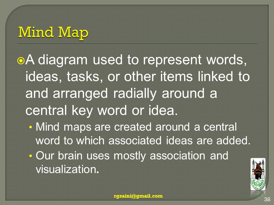  A diagram used to represent words, ideas, tasks, or other items linked to and arranged radially around a central key word or idea.