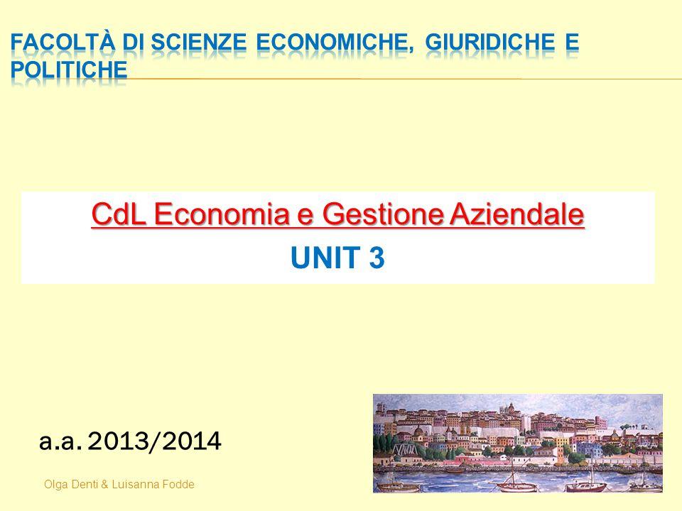 Olga Denti & Luisanna Fodde CdL Economia e Gestione Aziendale UNIT 3 a.a. 2013/2014