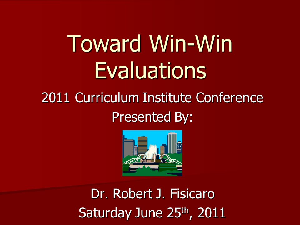 2011 Curriculum Institute Conference Presented By: Dr.