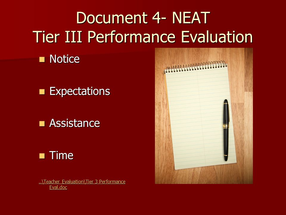 Document 4- NEAT Tier III Performance Evaluation Notice Notice Expectations Expectations Assistance Assistance Time Time..\Teacher Evaluation\Tier 3 Performance Eval.doc..\Teacher Evaluation\Tier 3 Performance Eval.doc