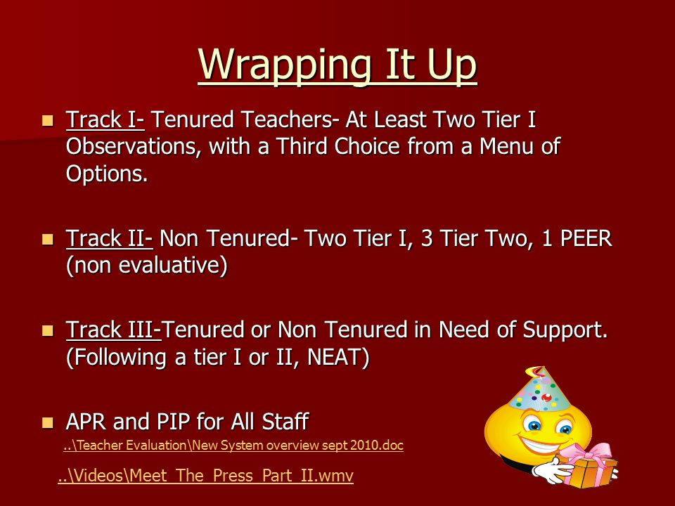 Wrapping It Up Track I- Tenured Teachers- At Least Two Tier I Observations, with a Third Choice from a Menu of Options. Track I- Tenured Teachers- At