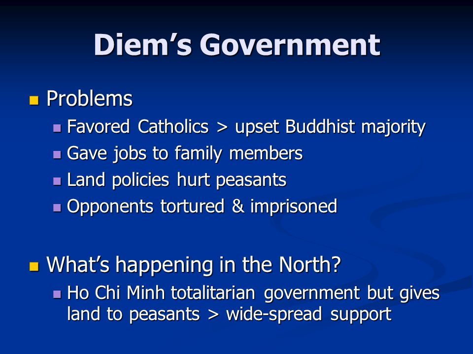 Diem's Government Problems Problems Favored Catholics > upset Buddhist majority Favored Catholics > upset Buddhist majority Gave jobs to family member