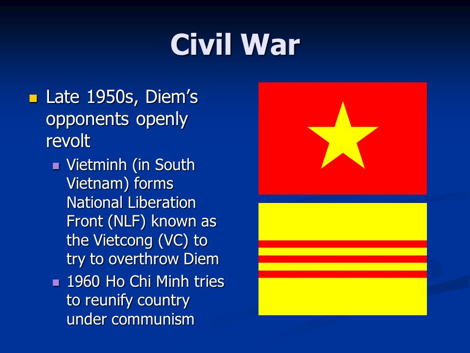 Civil War Late 1950s, Diem's opponents openly revolt Late 1950s, Diem's opponents openly revolt Vietminh (in South Vietnam) forms National Liberation