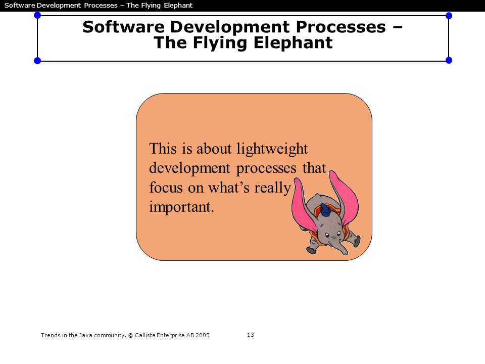 Trends in the Java community, © Callista Enterprise AB 2005 13 Software Development Processes – The Flying Elephant This is about lightweight developm