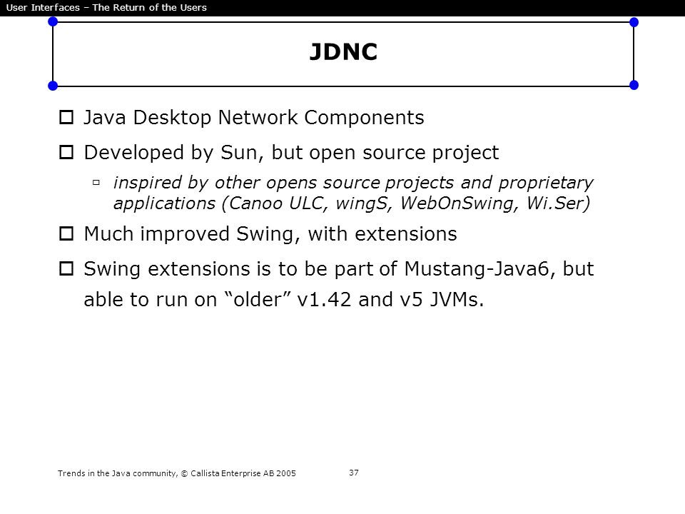 Trends in the Java community, © Callista Enterprise AB 2005 37 JDNC  Java Desktop Network Components  Developed by Sun, but open source project  in