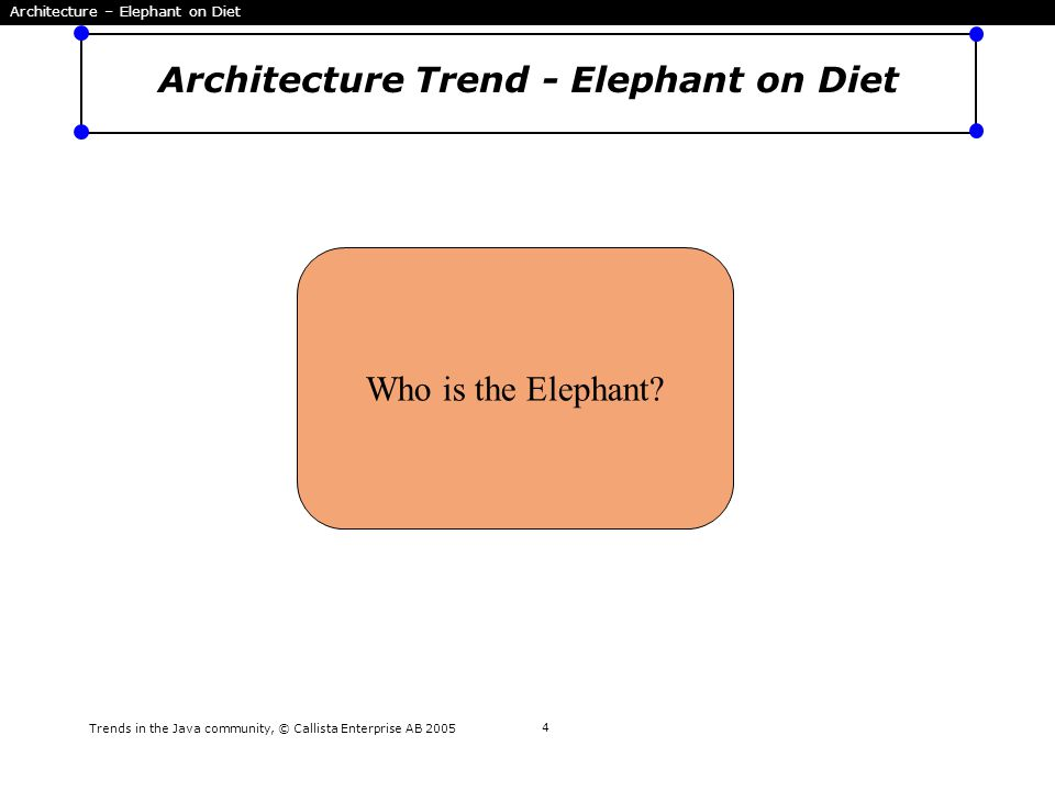 Trends in the Java community, © Callista Enterprise AB 2005 4 Architecture Trend - Elephant on Diet Who is the Elephant? Architecture – Elephant on Di