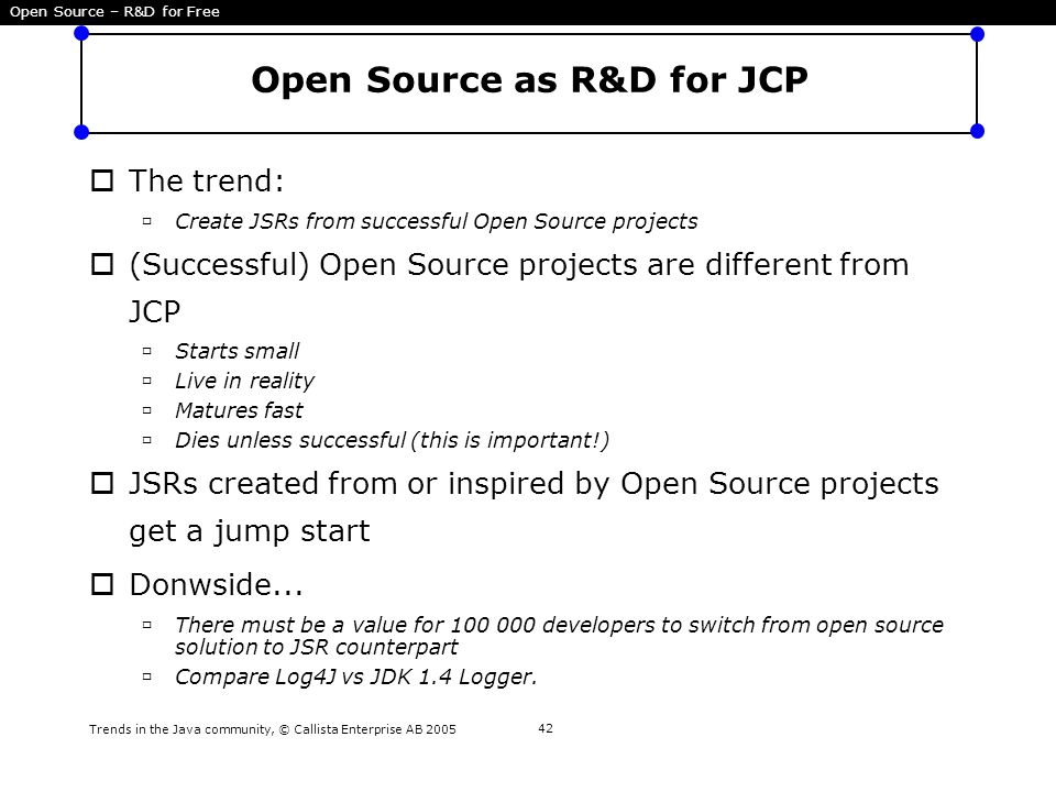 Trends in the Java community, © Callista Enterprise AB 2005 42 Open Source as R&D for JCP  The trend:  Create JSRs from successful Open Source proje