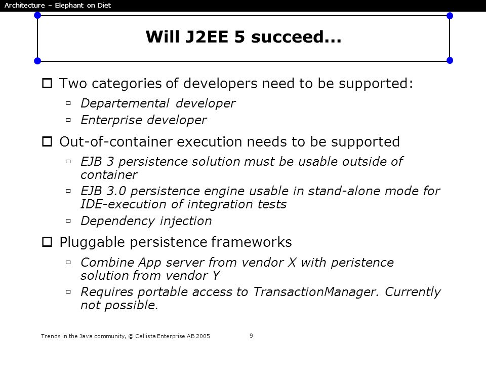 Trends in the Java community, © Callista Enterprise AB 2005 9 Will J2EE 5 succeed...  Two categories of developers need to be supported:  Departemen