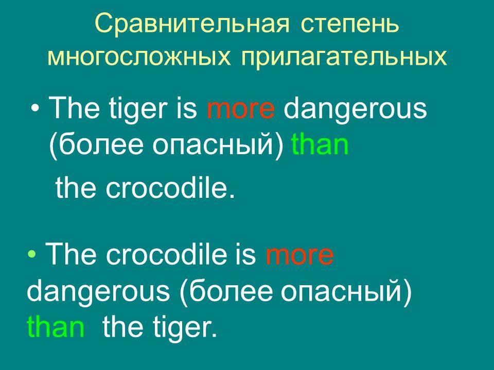 Сравнительная степень многосложных прилагательных The tiger is more dangerous (более опасный) than the crocodile. The crocodile is more dangerous (бол