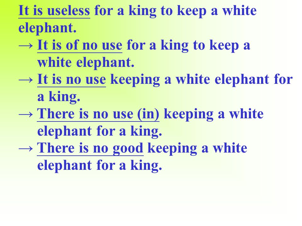 A white elephant refers to something that is useless and a waste of money.