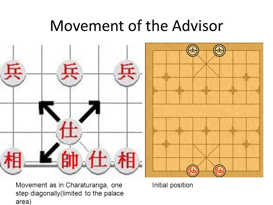 Movement of the Advisor Initial positionMovement as in Charaturanga, one step diagonally(limited to the palace area)