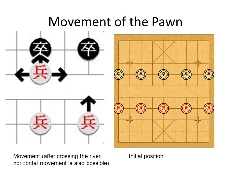 Movement of the Pawn Initial positionMovement (after crossing the river, horizontal movement is also possible)