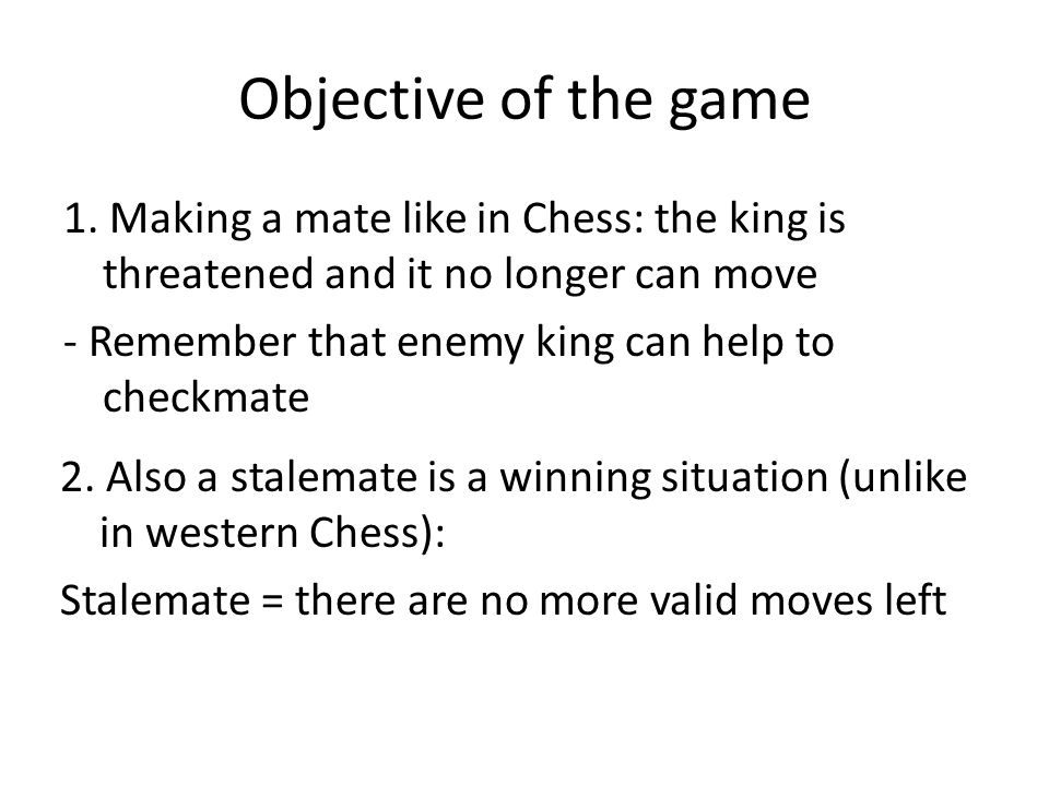 Objective of the game 1.