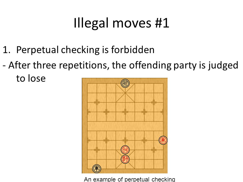 Illegal moves #1 1.Perpetual checking is forbidden - After three repetitions, the offending party is judged to lose An example of perpetual checking