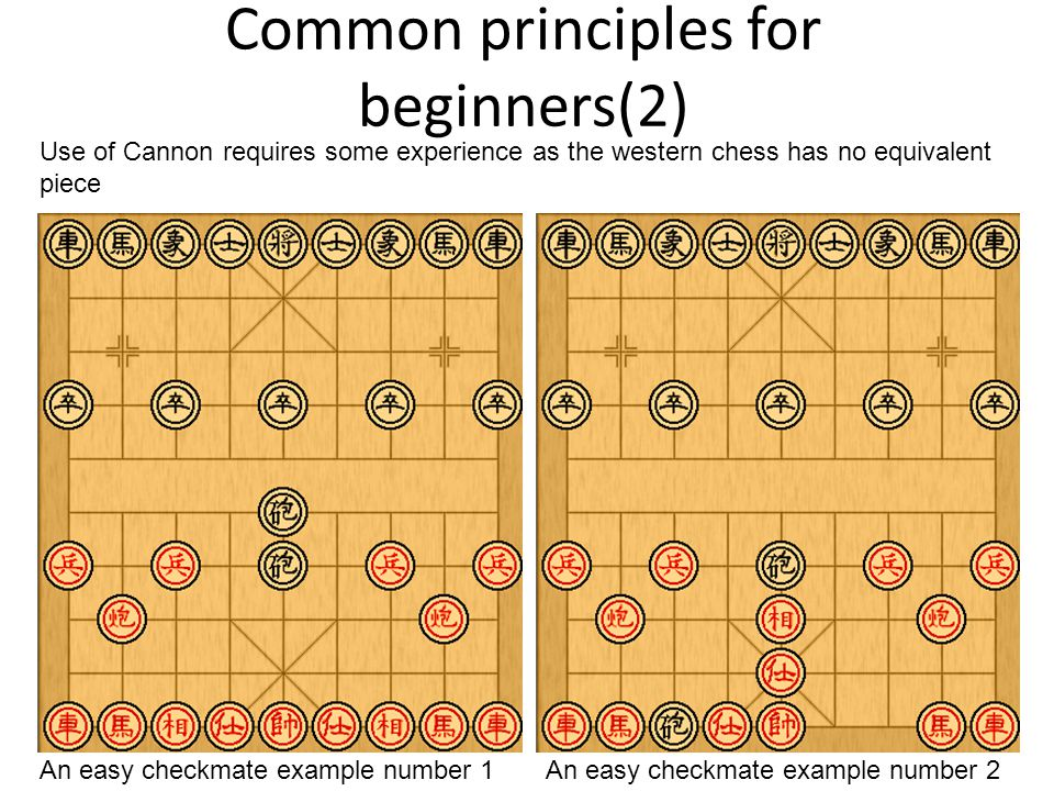 Common principles for beginners(2) An easy checkmate example number 1An easy checkmate example number 2 Use of Cannon requires some experience as the western chess has no equivalent piece