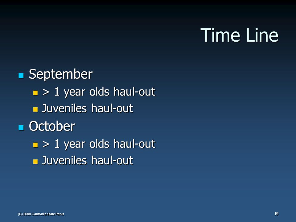(C) 2008 California State Parks 19 Time Line September September > 1 year olds haul-out > 1 year olds haul-out Juveniles haul-out Juveniles haul-out October October > 1 year olds haul-out > 1 year olds haul-out Juveniles haul-out Juveniles haul-out