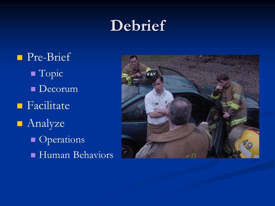 Debrief Pre-Brief Topic Decorum Facilitate Analyze Operations Human Behaviors