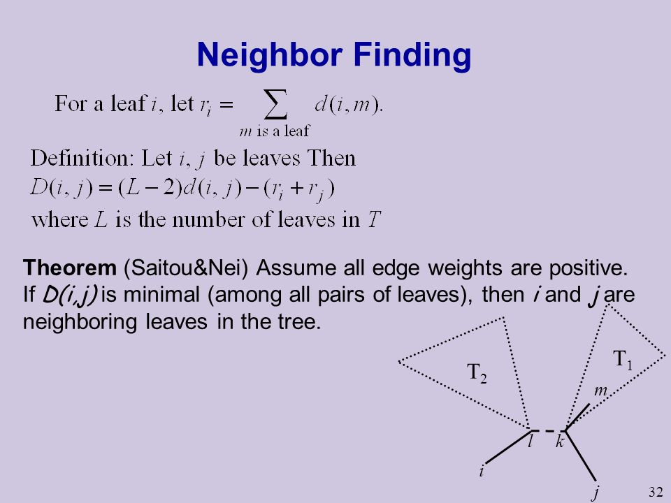 32 Neighbor Finding Theorem (Saitou&Nei) Assume all edge weights are positive.