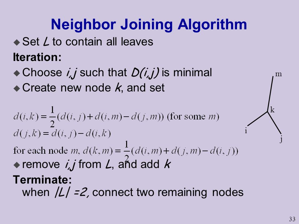 33 Neighbor Joining Algorithm  Set L to contain all leaves Iteration:  Choose i,j such that D(i,j) is minimal  Create new node k, and set  remove i,j from L, and add k Terminate: when |L| =2, connect two remaining nodes i j k m
