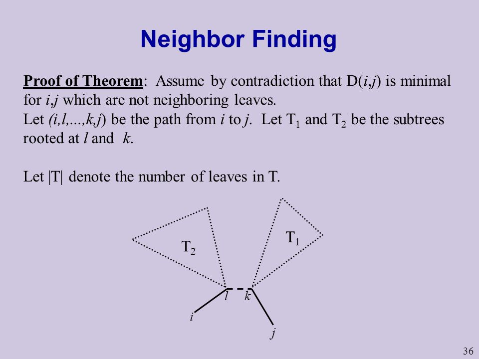36 Neighbor Finding Proof of Theorem: Assume by contradiction that D(i,j) is minimal for i,j which are not neighboring leaves.