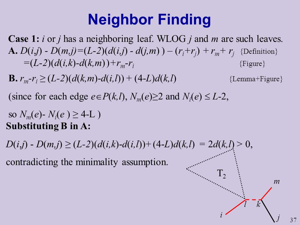 37 Neighbor Finding Case 1: i or j has a neighboring leaf.