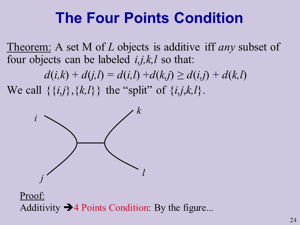 24 The Four Points Condition Theorem: A set M of L objects is additive iff any subset of four objects can be labeled i,j,k,l so that: d(i,k) + d(j,l) = d(i,l) +d(k,j) ≥ d(i,j) + d(k,l) We call {{i,j},{k,l}} the split of {i,j,k,l}.